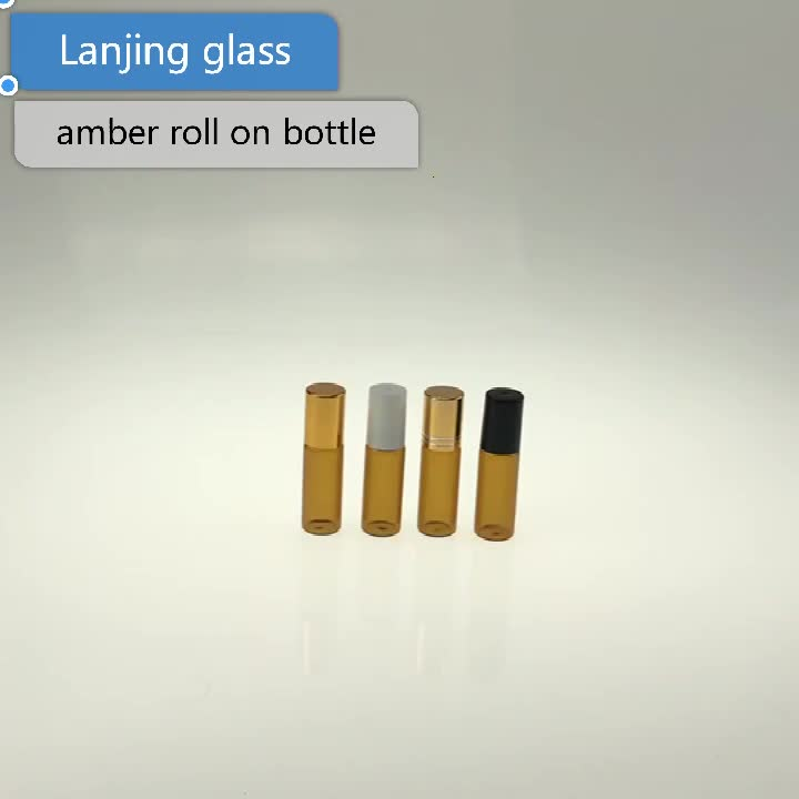 15ml amber roll on essential oil  glass bottle with Black Cap and Roller Ball