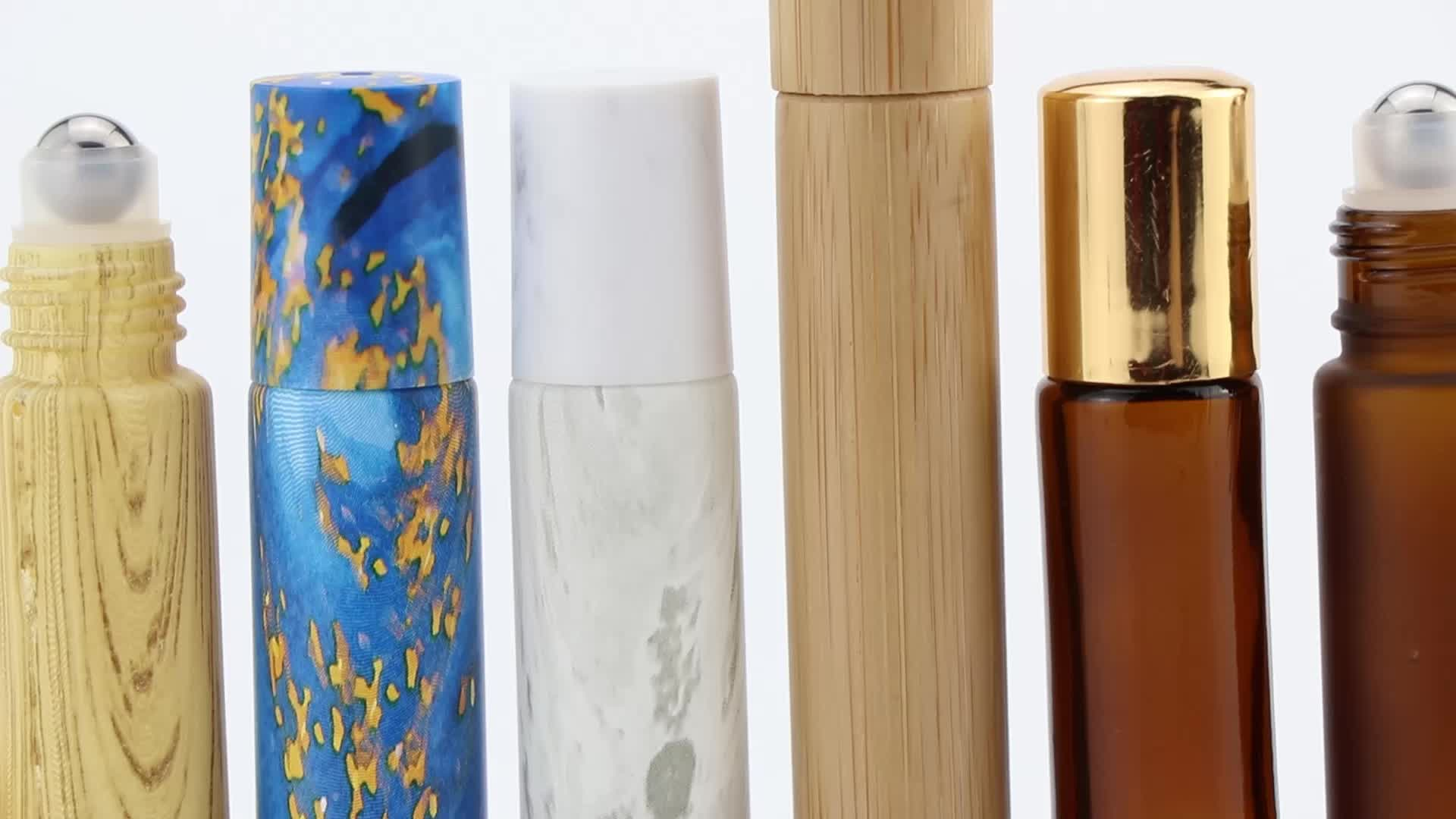 New perfume 4ml 6ml 8ml 10ml frost clear green blue amber glass roll on bottle with roller ball