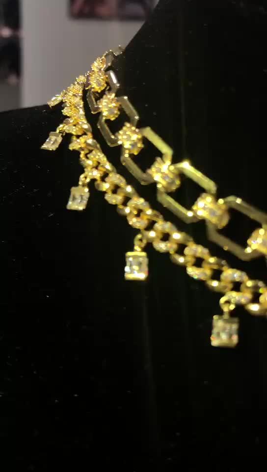 Miss Women Hip Hop Jewelry Gold Plated Cubic Zirconia Choker Gold Necklace Baguette Drop Link Choker
