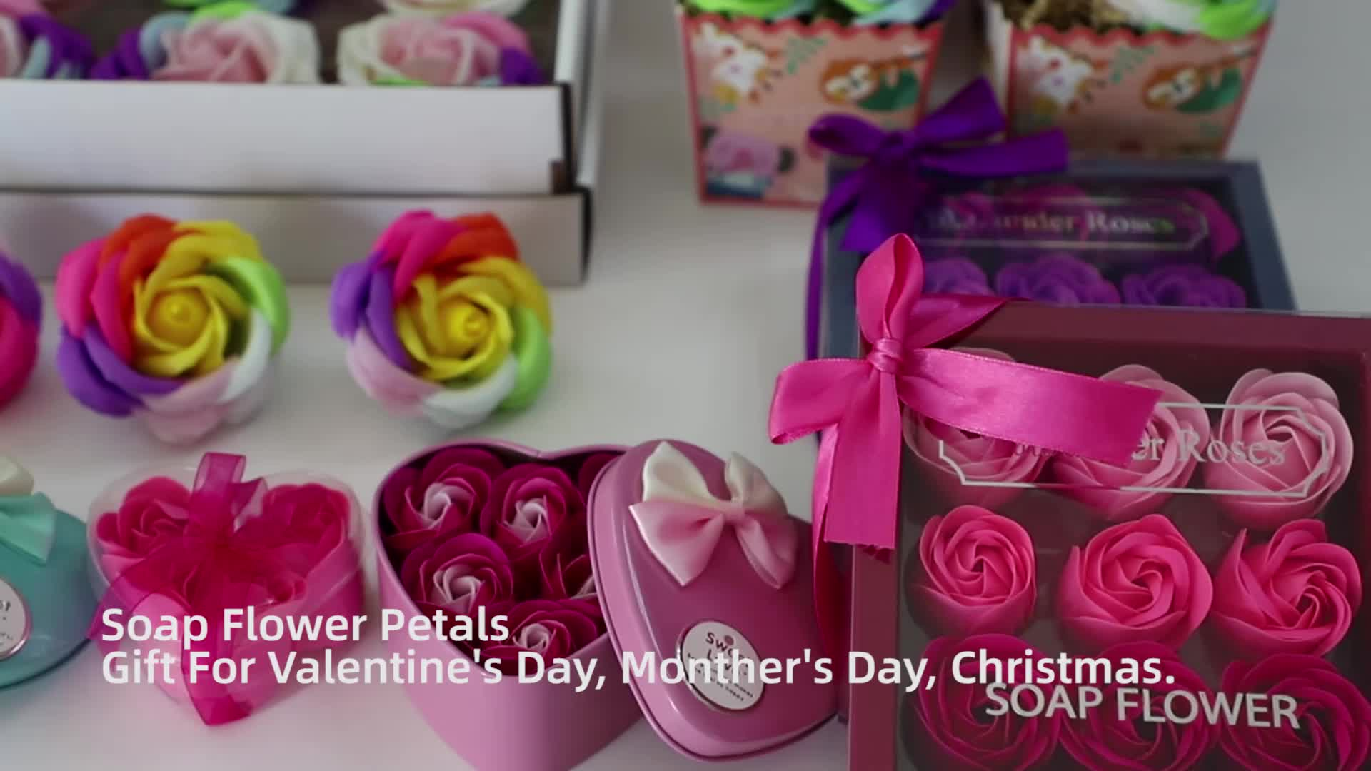 Hot sale roses artificial bouquet gift box cleaning whitening bath  manufacture soap flower for skincare