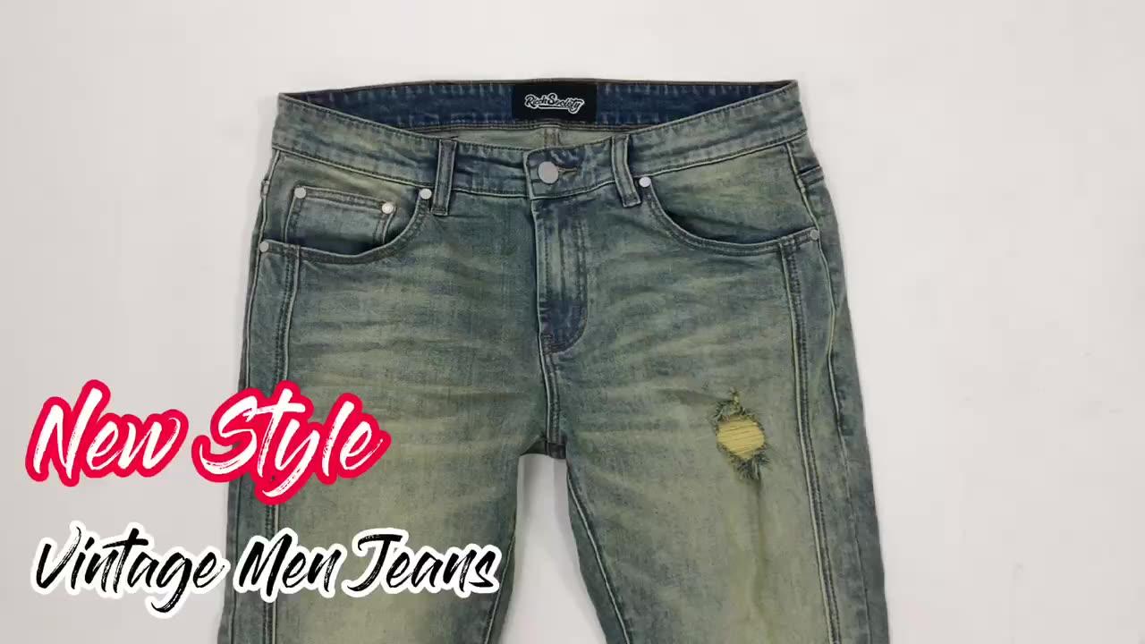 Edge Denim Vintage Distressed Holes Patch Custom Jeans Trousers Print Ripped Jeans Pant Men