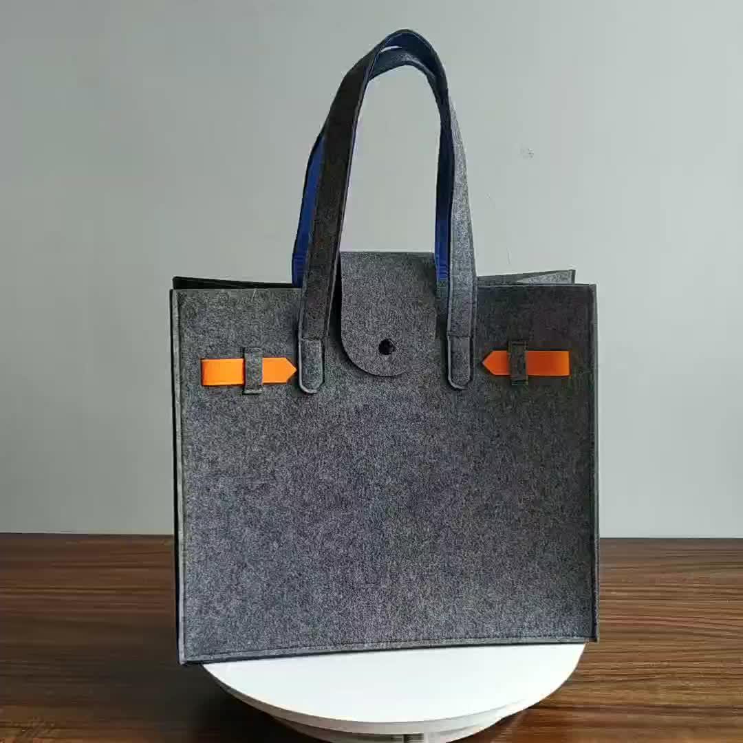 2019 New design wholesale felt tote bags women handbags custom wool felt storage handbag