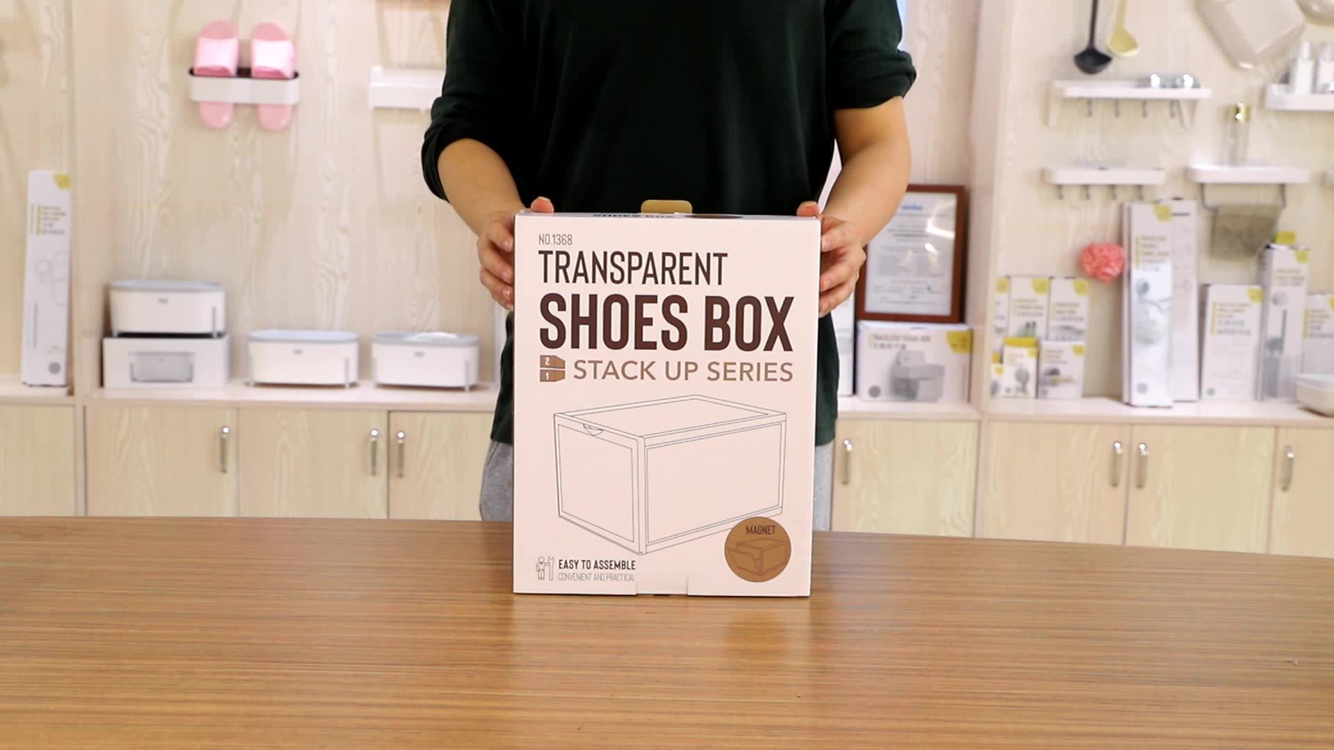Drop Front Clear Stackable Shoe Box with Magnets Acrylic storage Shoe Box Transparent Taizhou custom Display Sneaker box case