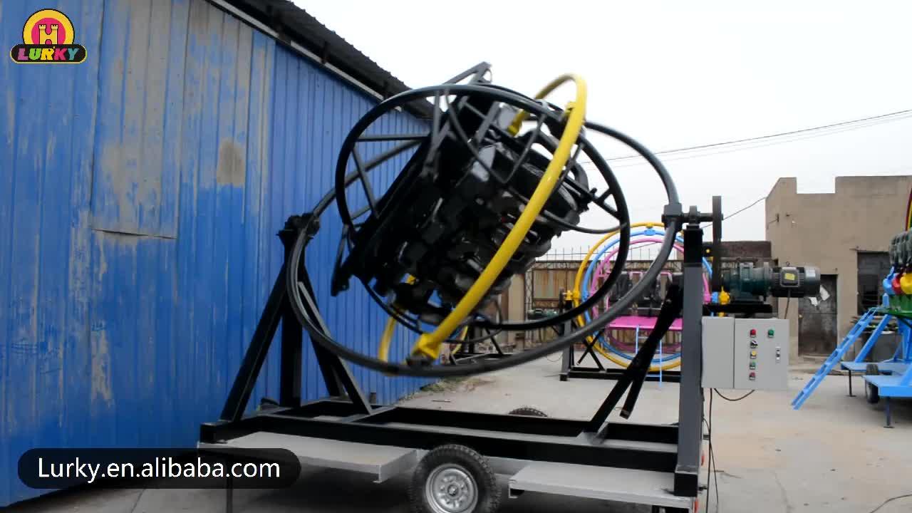 पोर्टेबल और सस्ते इस्तेमाल किया मनोरंजन की सवारी 3d अंतरिक्ष अंगूठी मानव gyroscope