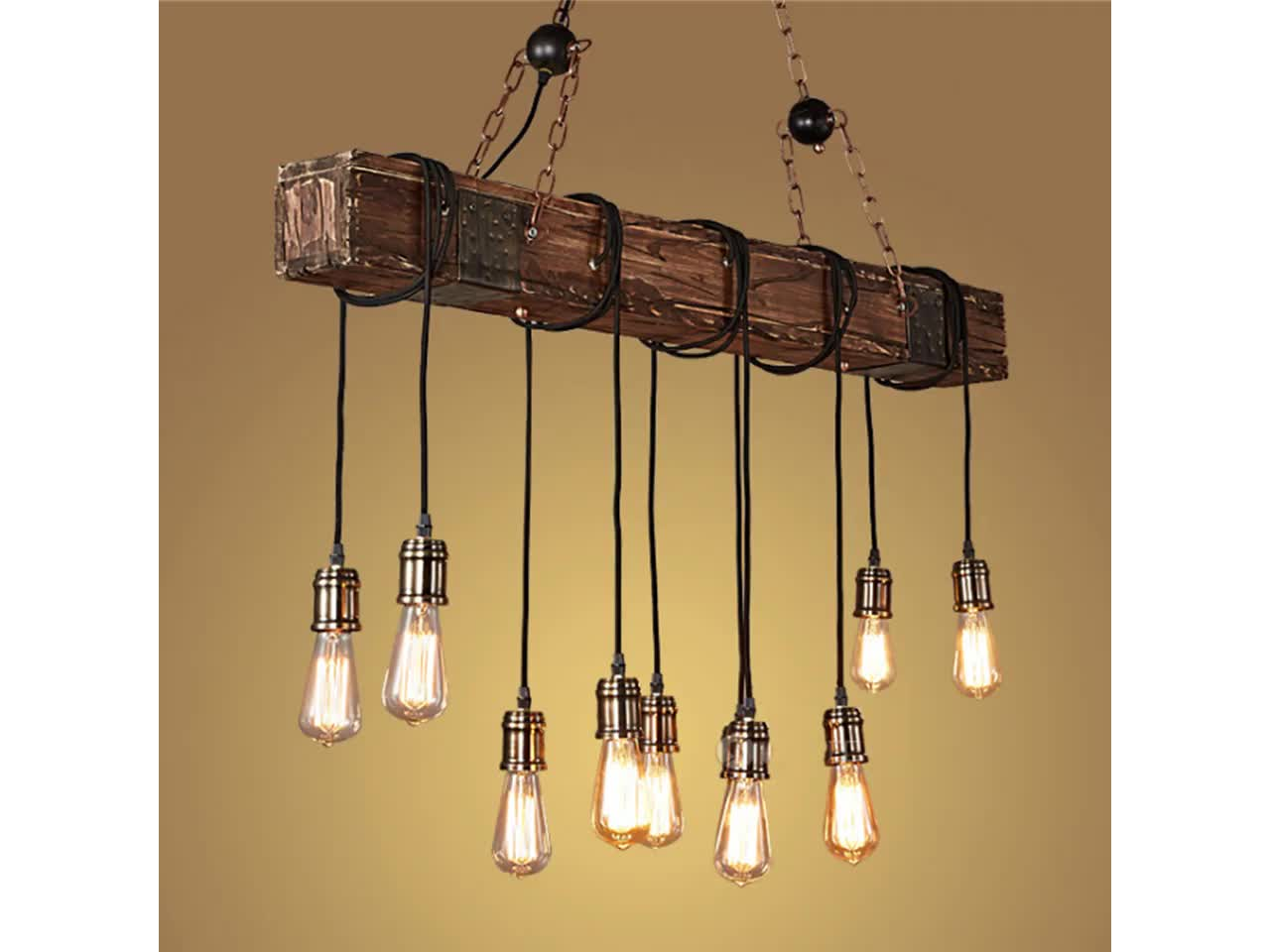 Industrial Natural Wood Lighting Vintage Hemp Rope Pendant Lamp