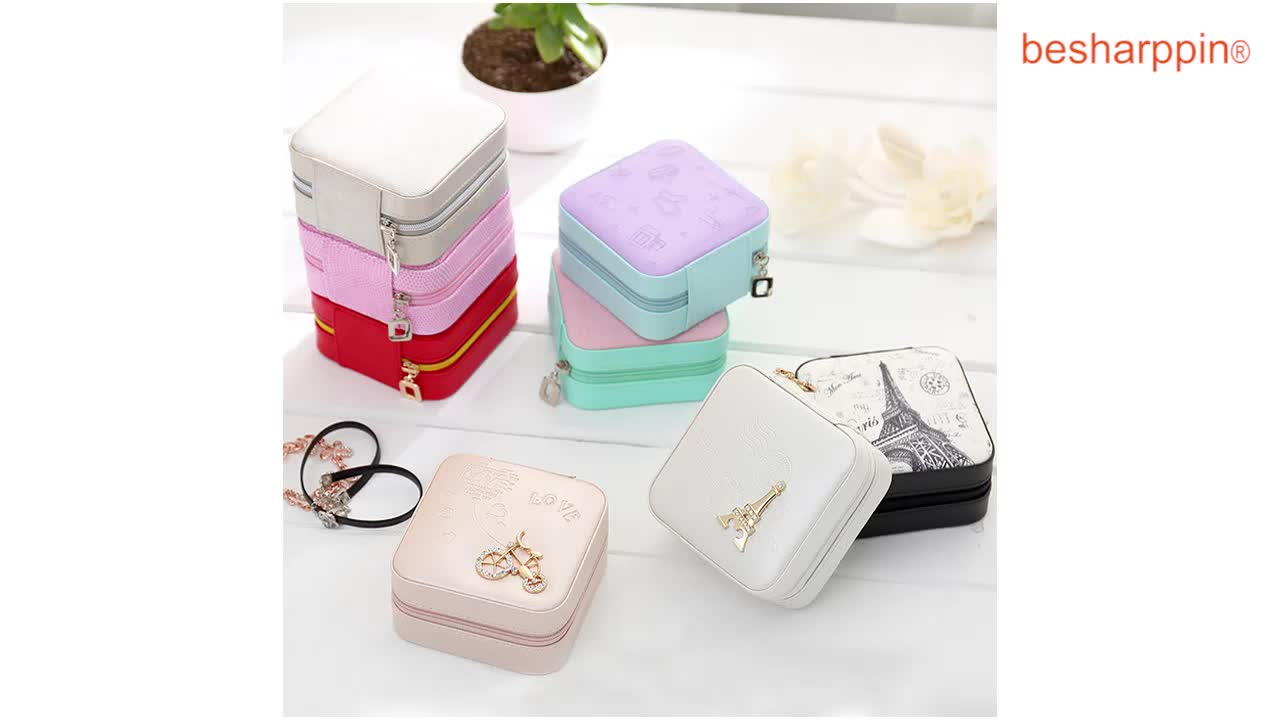 Small Square Faux Leather Luxury Organizer Bag Storage Jewelry Case Travel Jewellery Organiser with Zipper