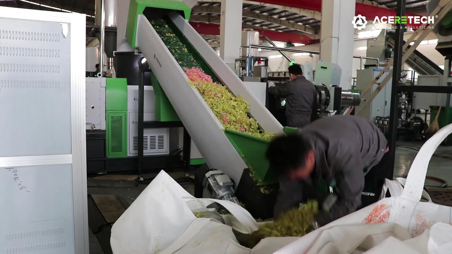 Recycling Machine Voor Huisdier Pp Hdpe Ldpe Lldpe Abs Pvc Pe Film Jumbo Geweven Zakken Vuilnis Fles Vlok Drum Pallet lump Pijp