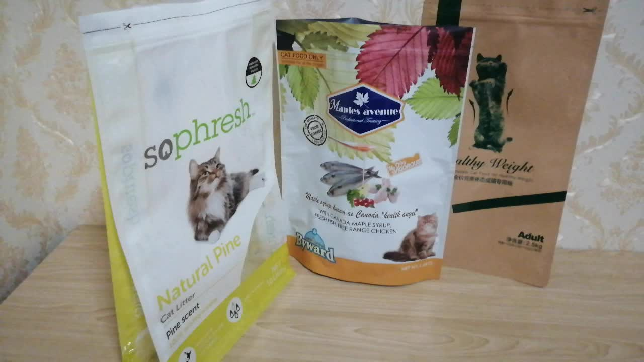 Stand up flat bottom cat/pet food packaging bags with ziplock for custom printing by GMP workshop of RM Group