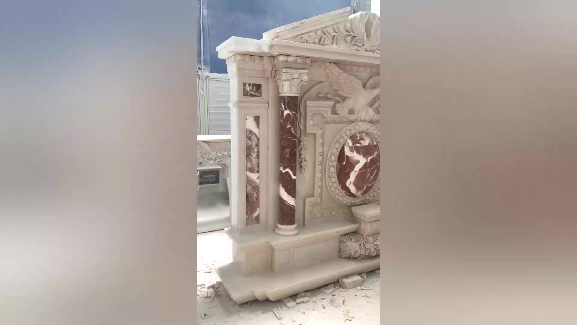 Custom classical directly factory sale indoor used stone carving 2 tiers beige french style marble fireplace