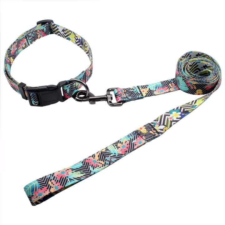 Christmas Promotion Pet Supplies Collar and Leash Customized Print Logo Sublimation Dog Collars Leads With Quick Snap Buckle