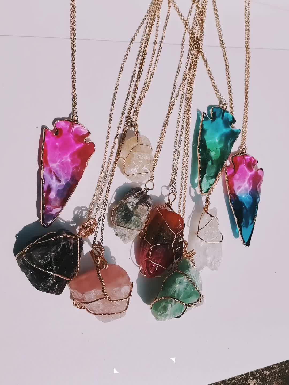 Artilady colgante collar largo grande collar de cristal crudo de las mujeres de piedra natural colgante collar de la joyería regalos para mujeres