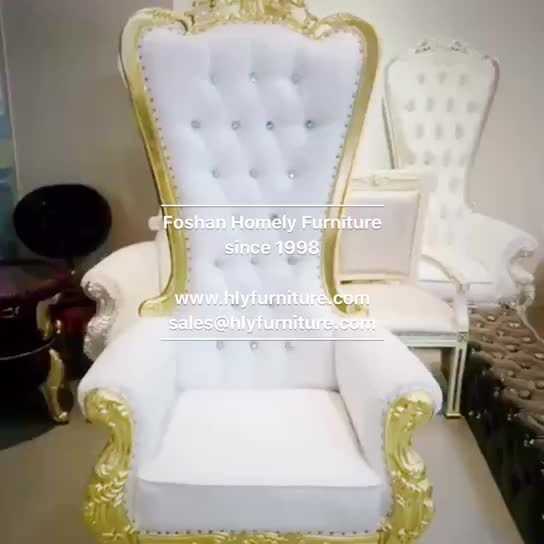 Cheap Beauty Manicure Pedicure Spa Salon High Back White Gold Wedding Baroque Queen Throne Alice king chair