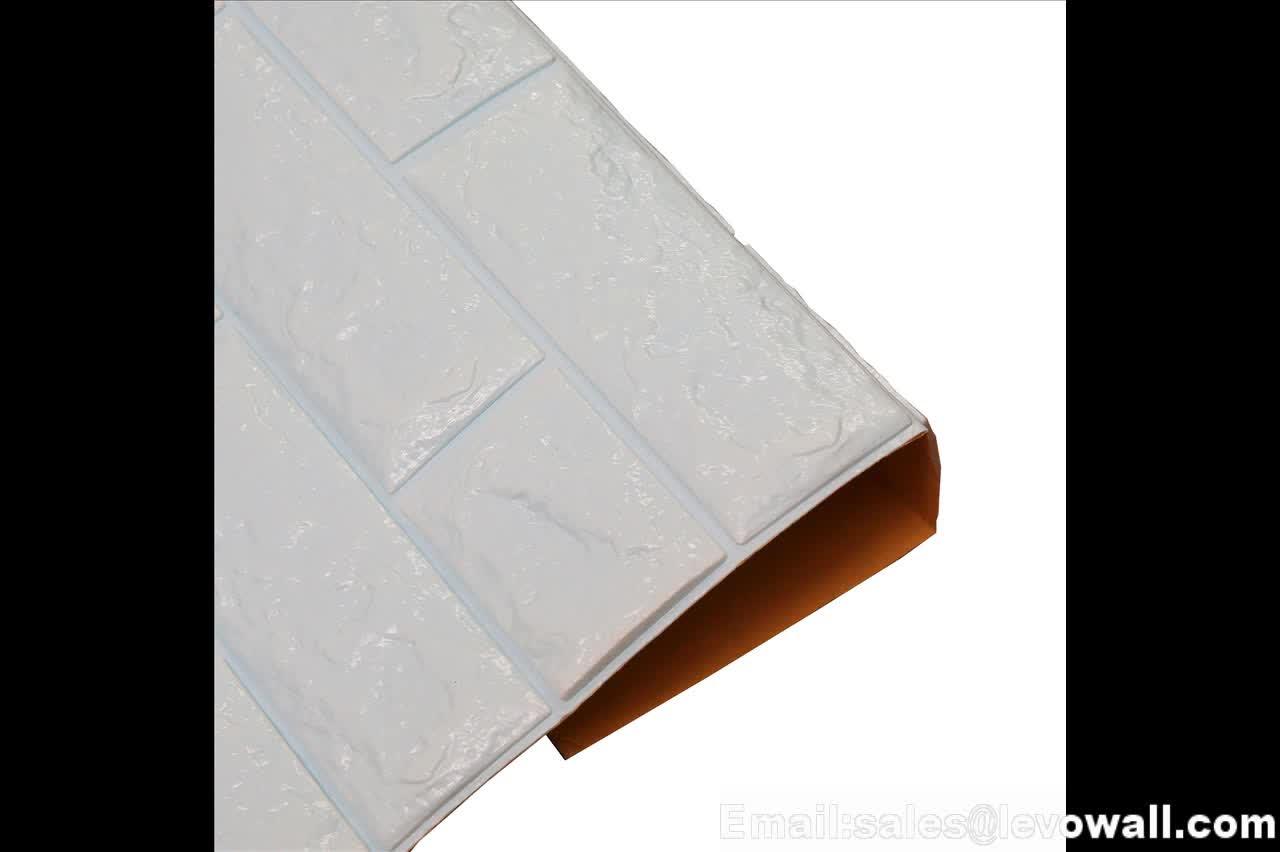 Weiß Farbe 3D Ziegel PE/EVA Schaum Tapete 3D Ziegel Wand panels