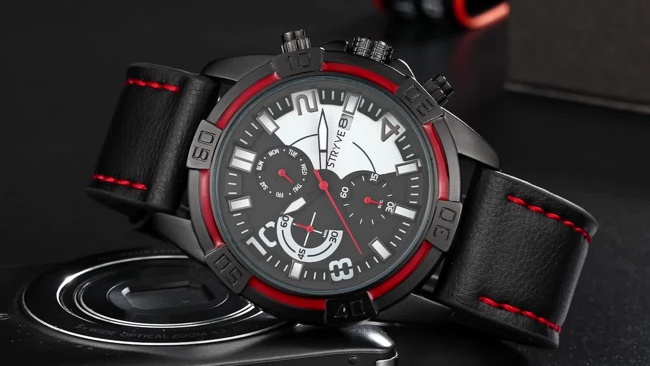 STRYVE  Fashion Simple Men Watch casual Waterproof Quartz Watches Classic Business Leather Wristwatch Zegarki Meskie