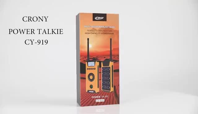Walkie talkie multifuncional com usb, banco de energia solar com luz de emergência, compasso CY-919, energia solar