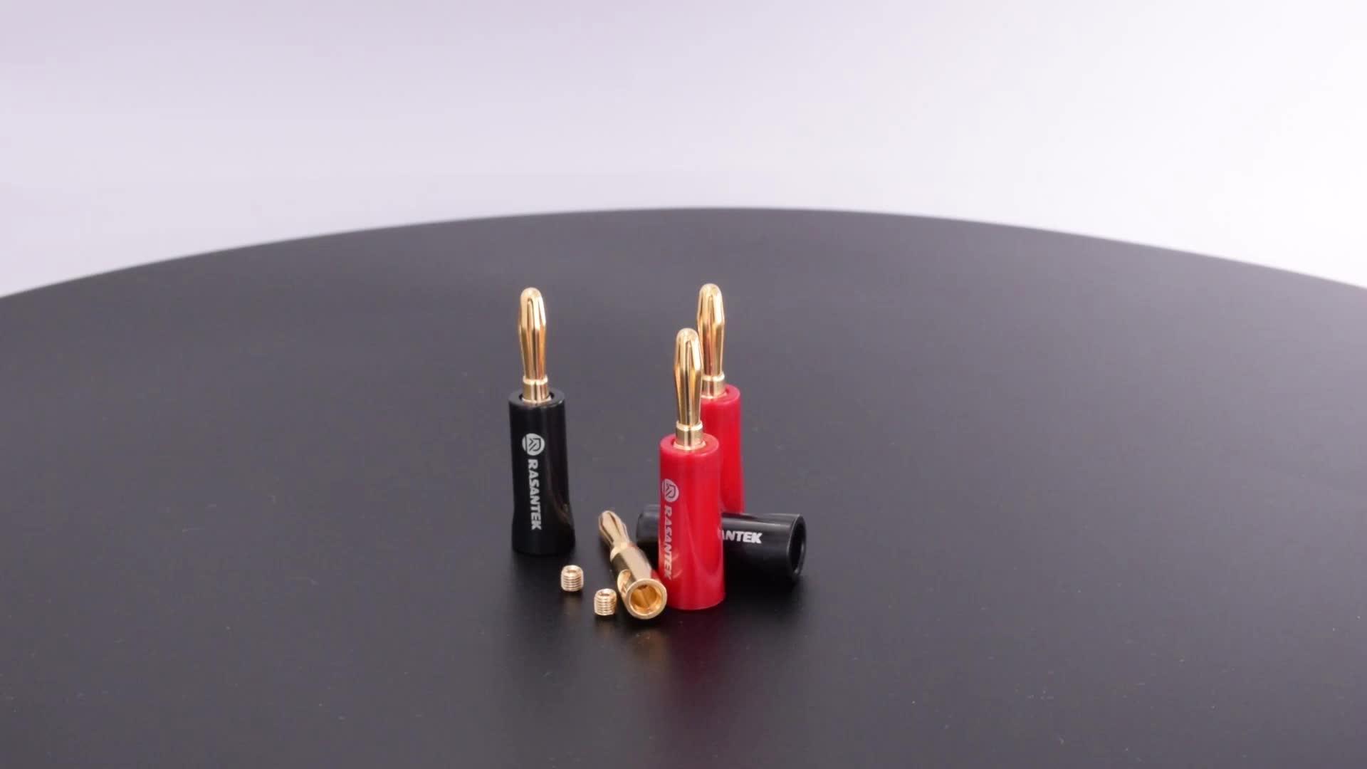 24K gold plated ABS highlight shell 4mm HIFI speaker safety male banana plug