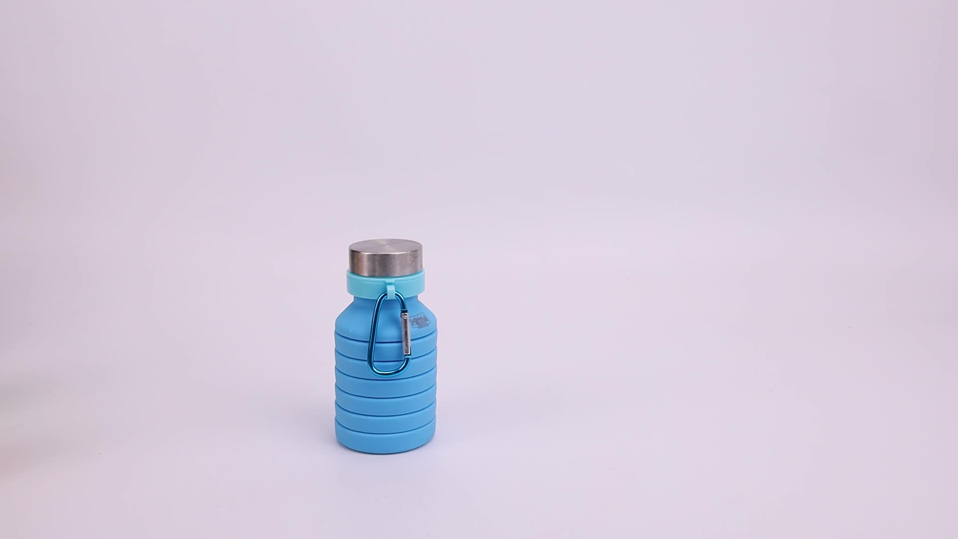 Portable Camping Hiking Silicone Water Bottle with D-Ring Hook