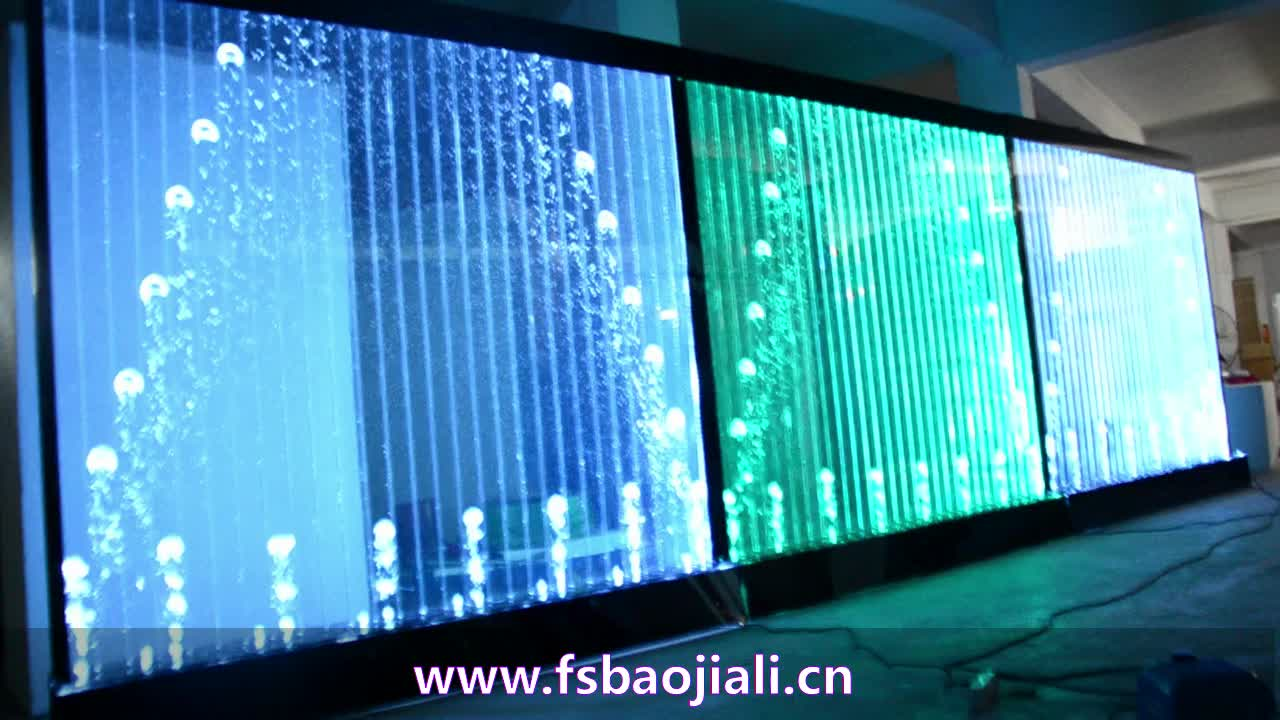 LED Acryl Wasserfall stehend Wanddekoration Trennwand Programm Bubble Dancing Water Wall