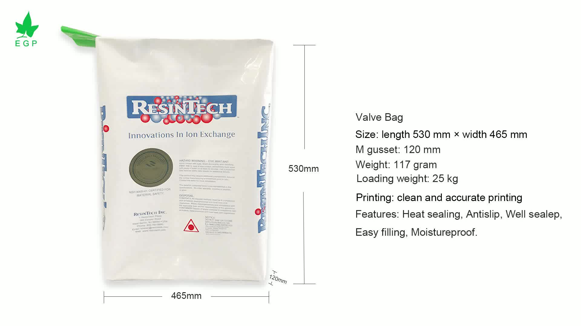 EGP 50kg cement plastic bags pe valve chemical fertilizer packing bag