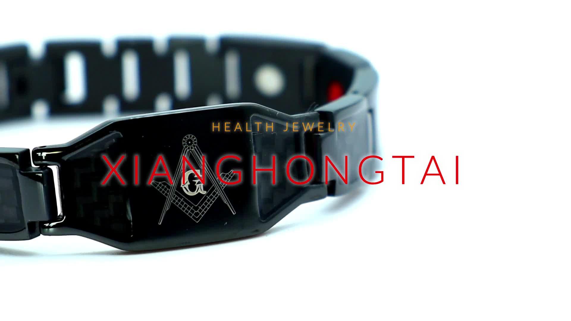 Bio health magnetic black carbon fiber bracelet for men
