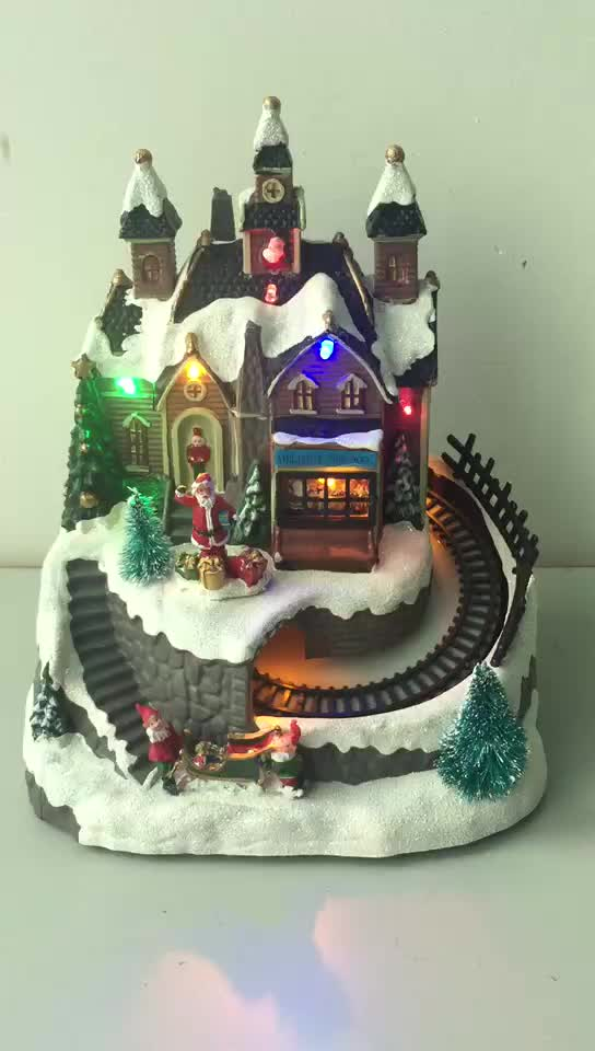 Custom LED lighted musical christmas village houses with music spin tower movement features wooden house decoration movement