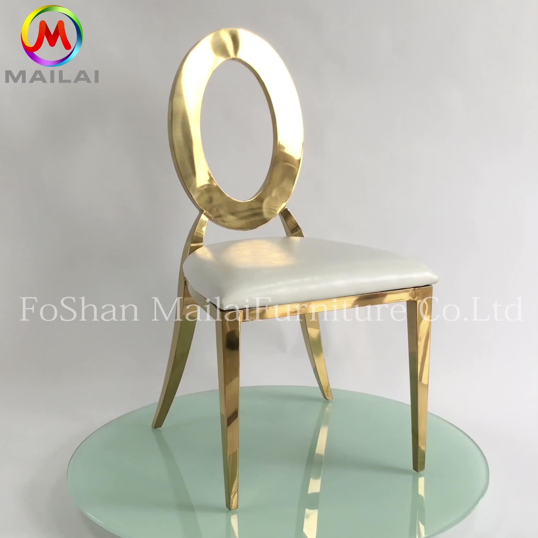 Chaise de mariage à dossier rond en fer, fauteuil d'extérieur en métal pas cher pour événements et mariage