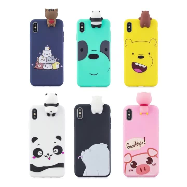 Cartoon Cute Soft Silicone Girls Cell Mobile Back Cover Anti Shock Girly TPU Panda 3D For Iphone Case