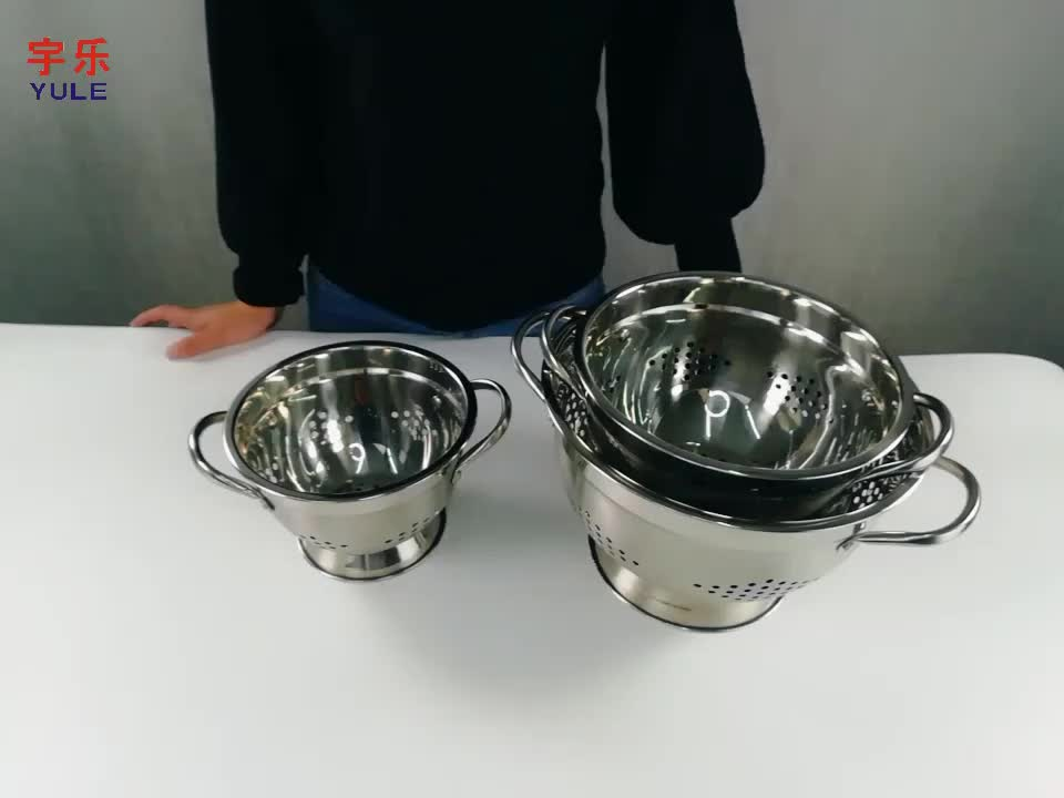 High quality 5.0QT vegetable fruit draining stainless steel colanders set