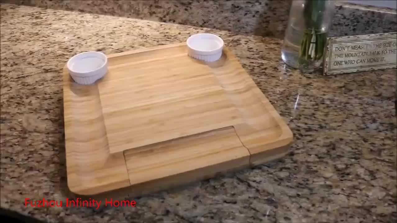 FDA bằng gỗ tre pho mát hội đồng quản trị khay với ngăn kéo & 4 cái dao