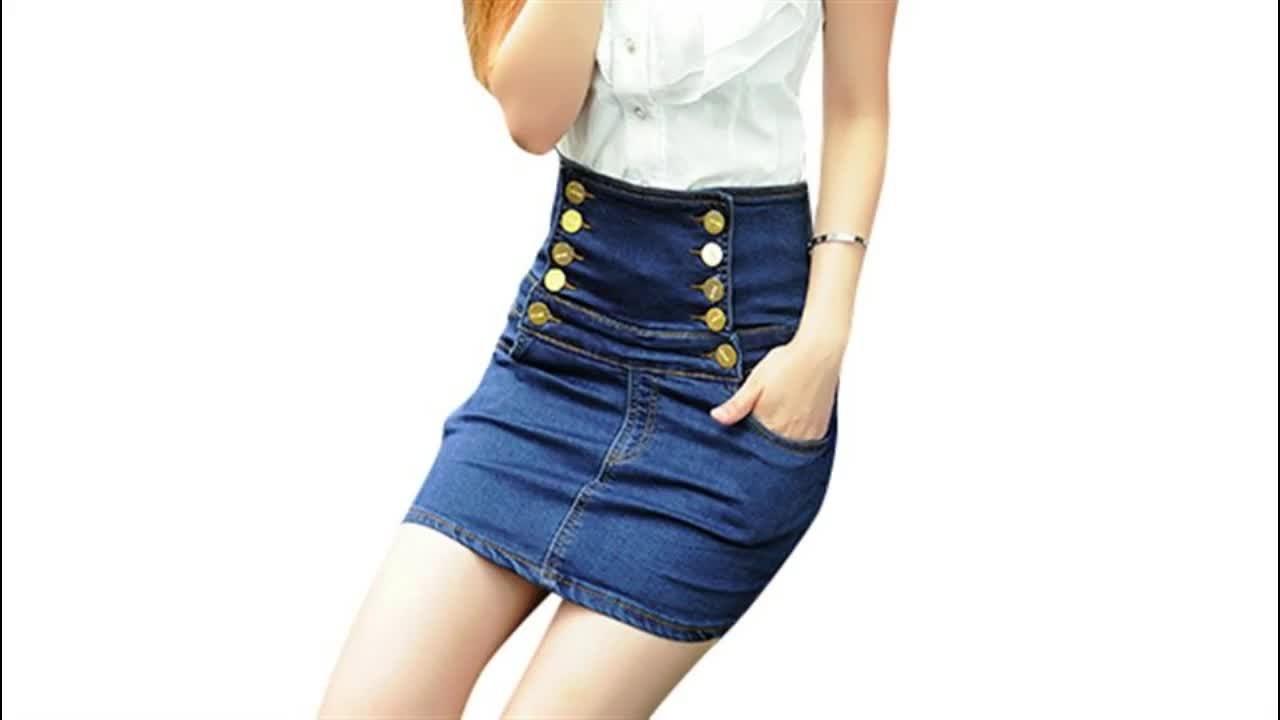 High waist lady sexy slim fit side striped short denim skirts