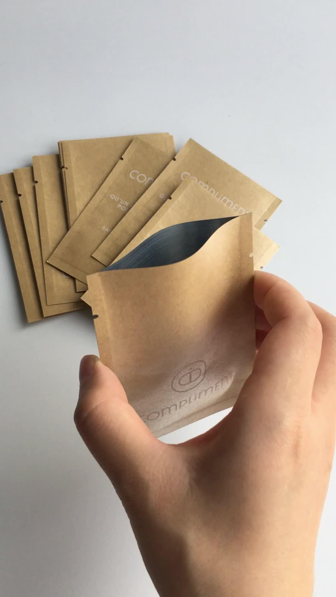 カスタム印刷マイラー箔ルーズリーフティー包装バッグフラットスモールミニクラフトサンプルバッグヒートシーリングフラットジッパーポーチ