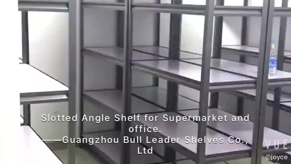 Slotted angle steel shelf for warehouse