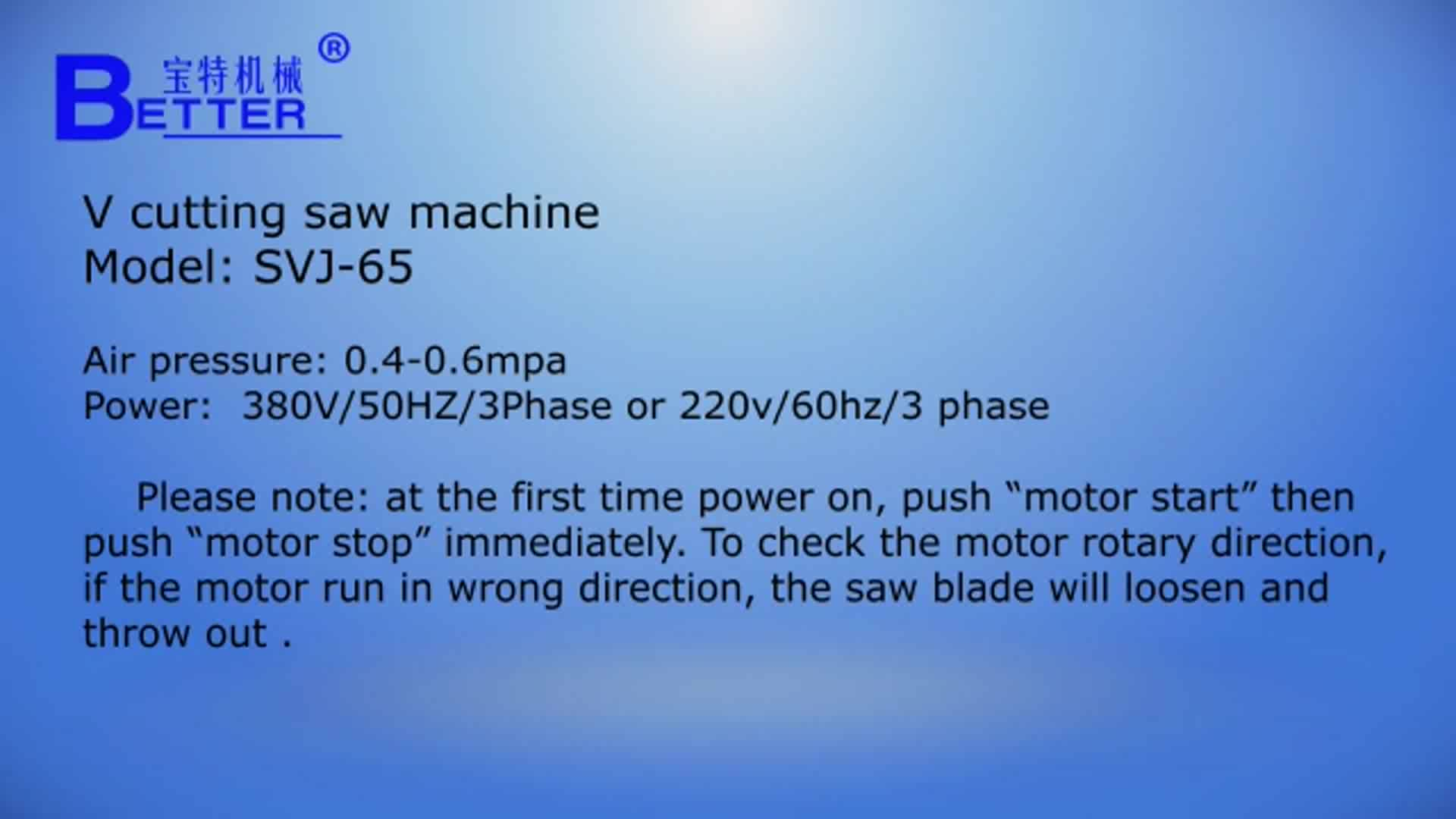 V cutting saw plastic window making machine