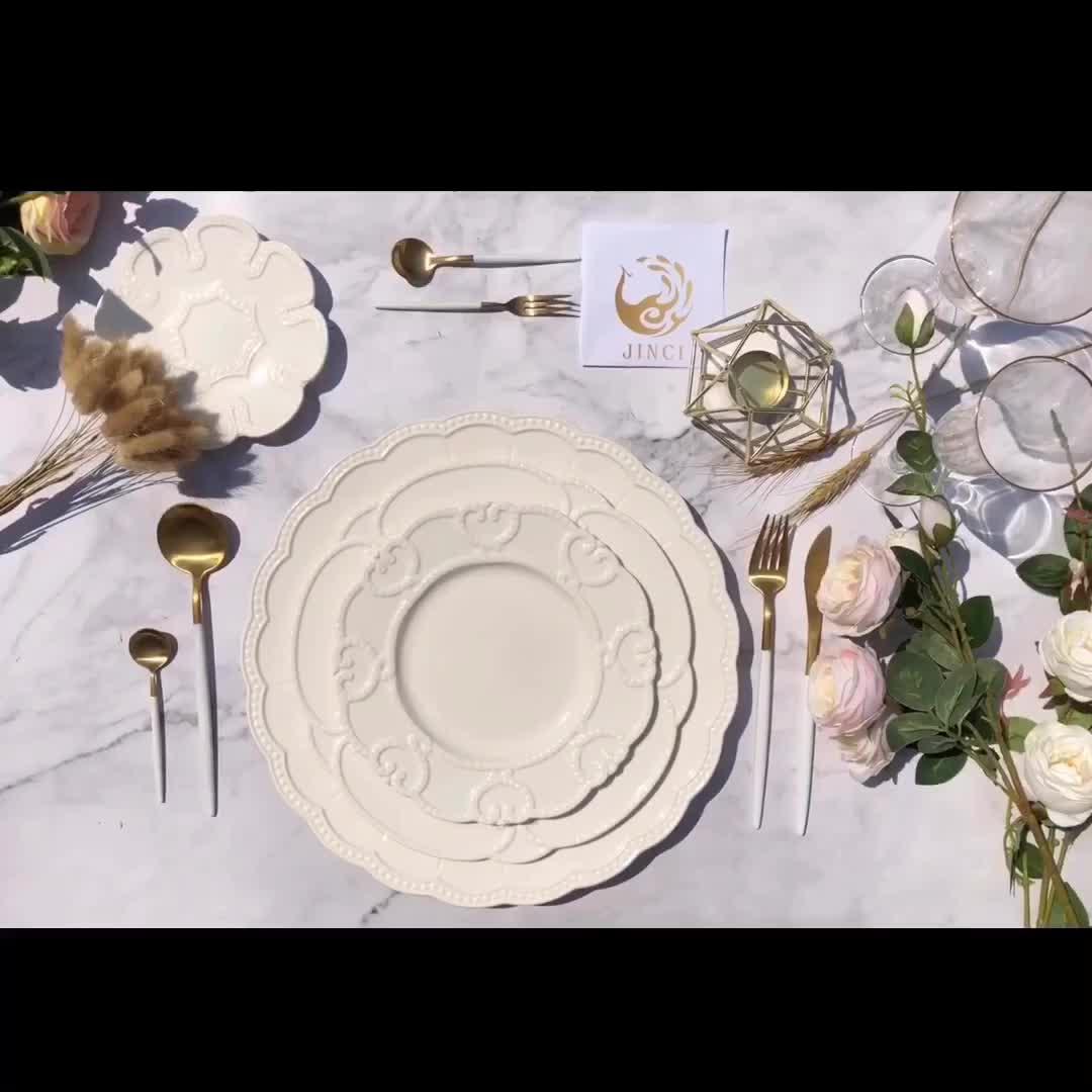 JC White Turkish Matt Black Marble Luxury Dinnerware Set Plate For Weddings