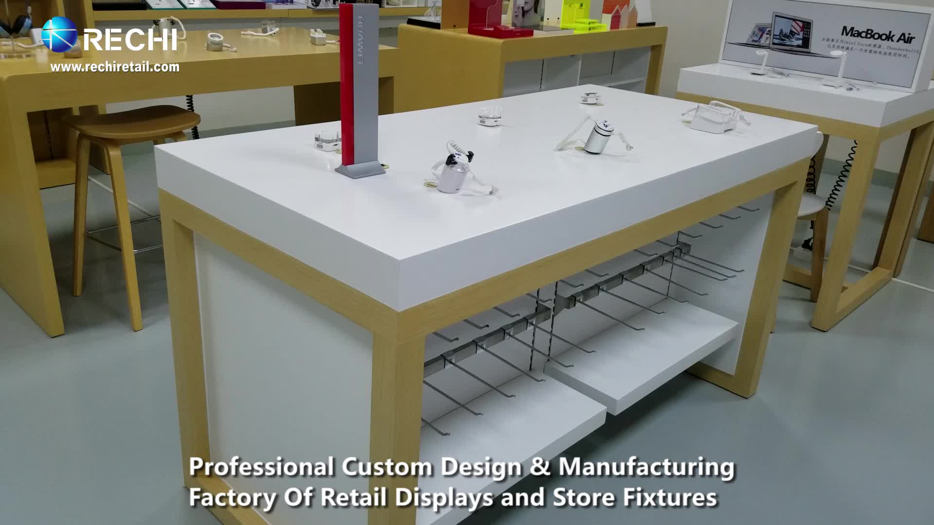 RECHI Conception Personnalisée et Fabrication Blanc Téléphone Mobile Magasin De Détail Affichage Table de Comptoir Avec Accessoire Présentoir et Support