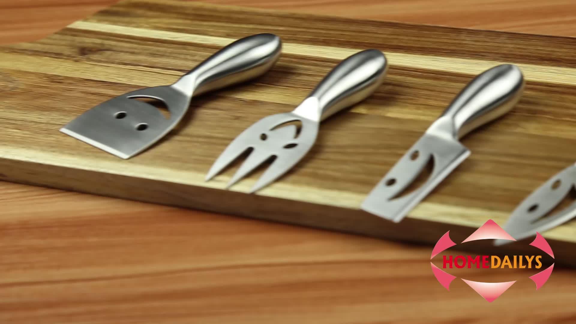 4 Set Mutlu Yüzler Yemek Peynir setleri Çatal Bıçak Paslanmaz çelik kürek Dilimleme Kesici