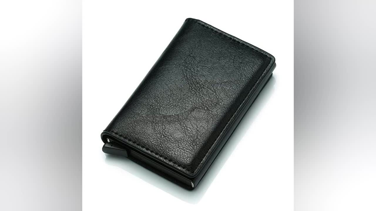 Leather smart wallet RFID Blocking pop Up portemonnee Aluminium credit card Case Business Bank ID Credit Kaarthouder