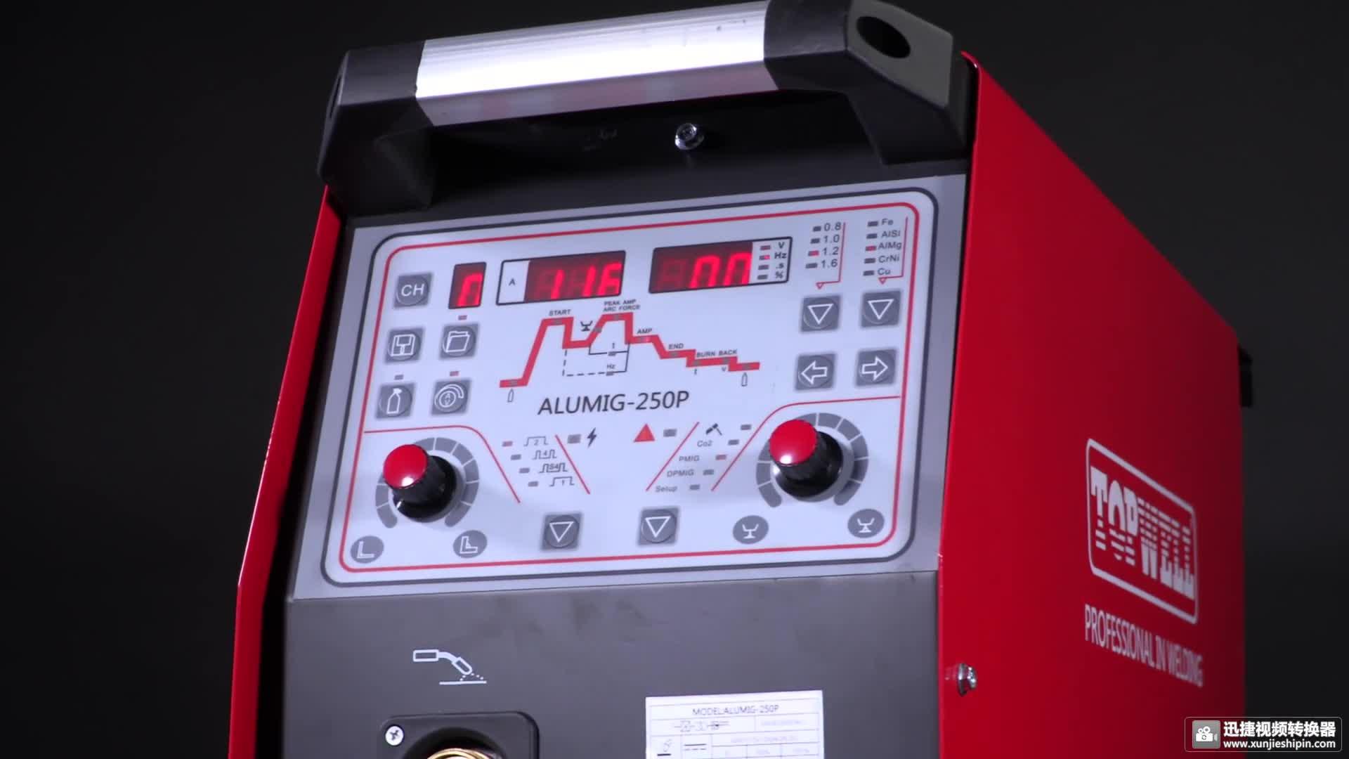 Máquina de soldadura Mig 250A pulso y pulso doble soldador MIG ALUMIG-250P