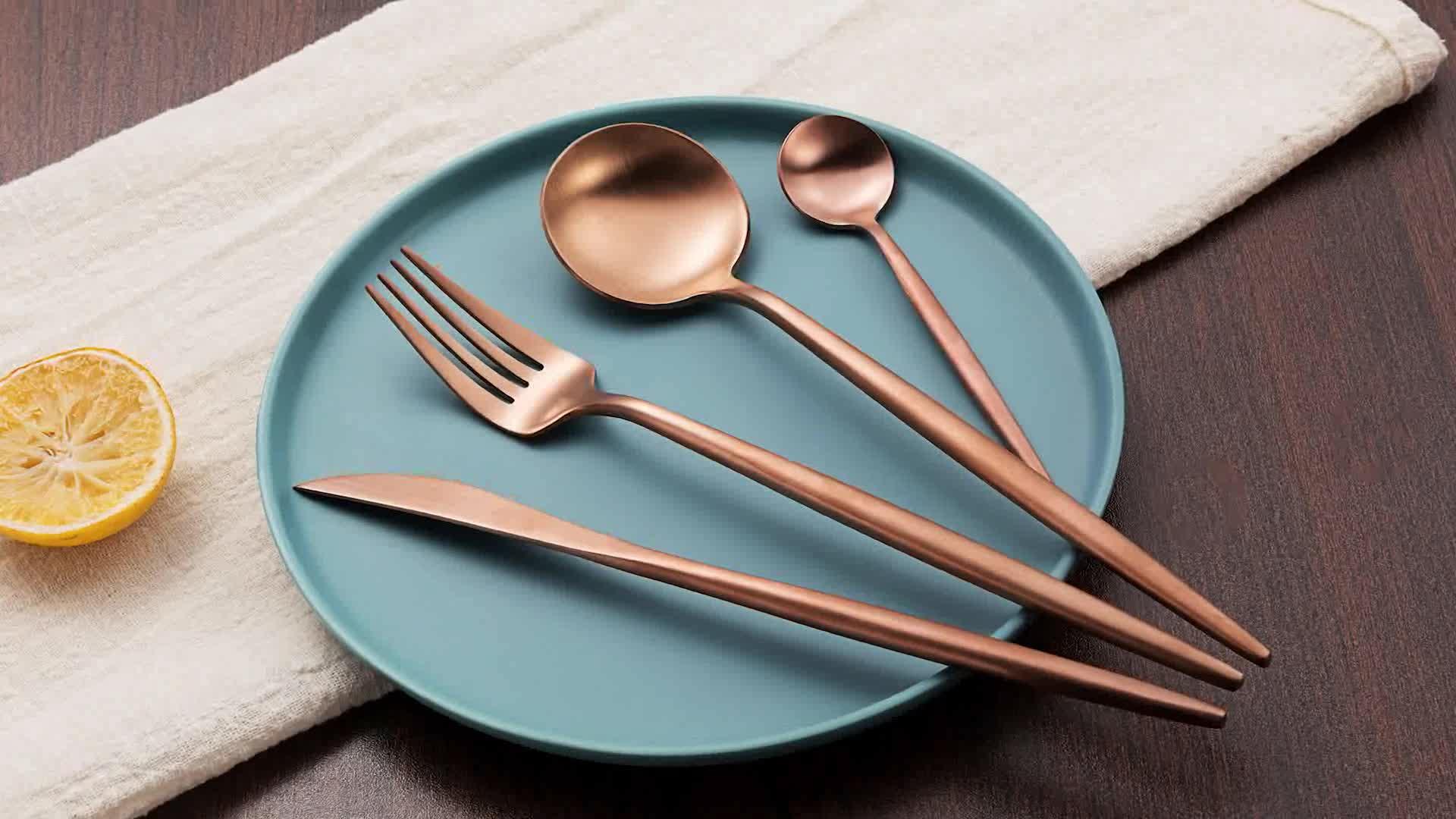 黒卸売 18/10 ステンレス鋼ポルトガルローズマットゴールドロイヤルウェディングギフトカトラリー、ナイフとフォーク、食器