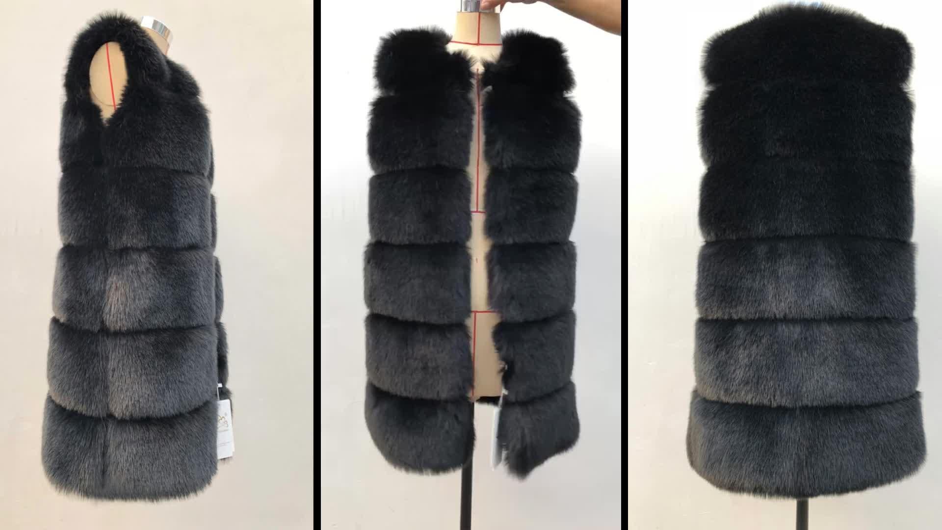 Fox fur vest 2019 new fashion women's long section Slim fur factory direct