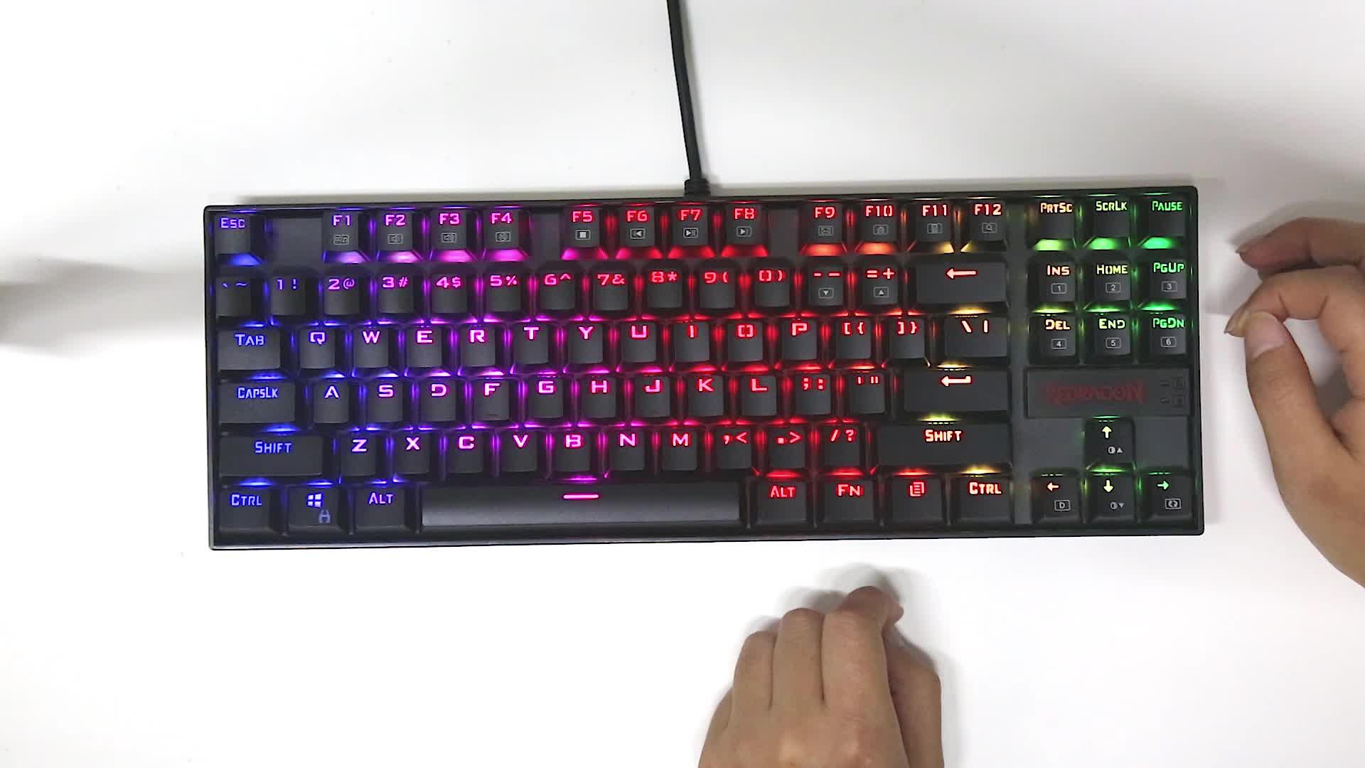 Redragon K552 KUMARA RGB 백라이트 기계식 게임 키보드 87 키 블루 스위치 백라이트 키보드