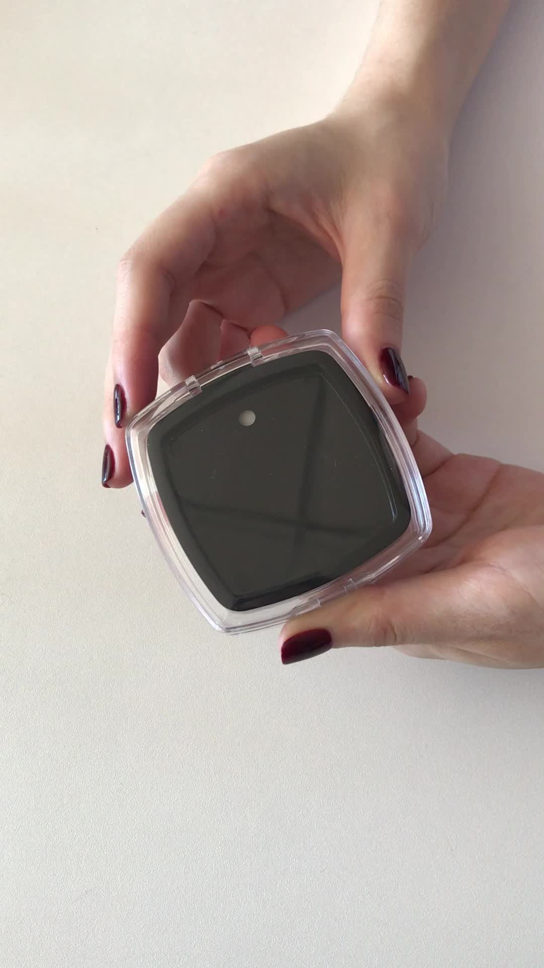 OEM new style clear square pressed powder case empty