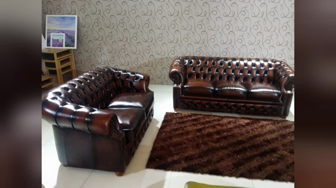 Classic furniture European Living Room Antique Leather Chesterfield Sofa
