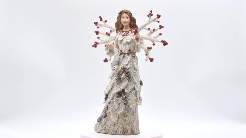 Unique tall resin christmas angel figurine with light