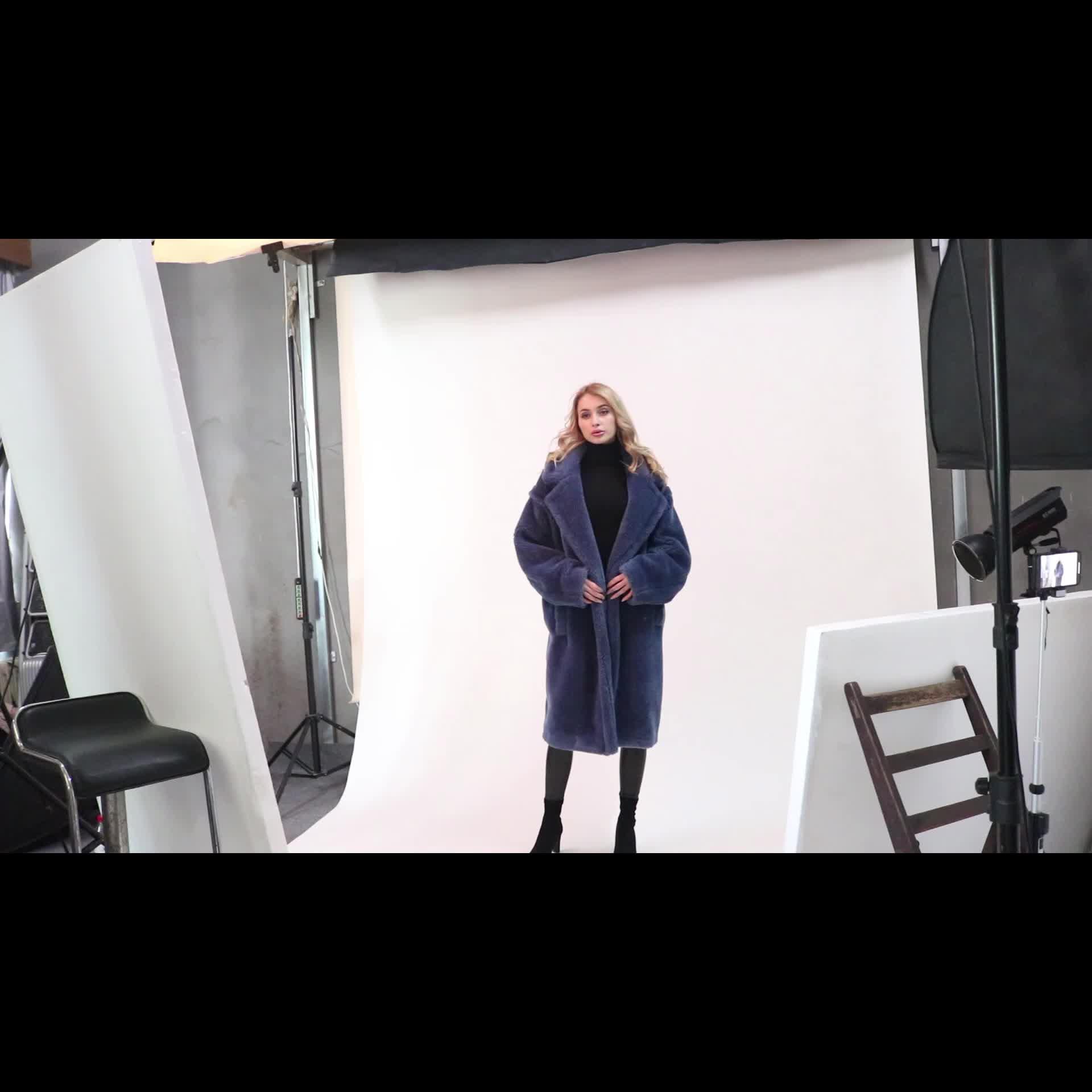 Marvelous Luxury sheep Fur Long Overknee Coat Real Animal Hair Overcoat