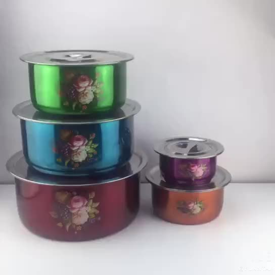 New style 18/21/24/27/30cm 5pcs colorful stainless steel indian stock pot sets cookware sets with lid