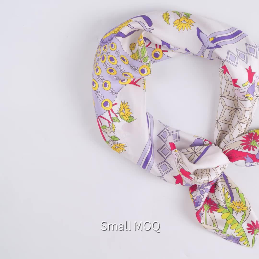 fashion brunei hand rolled hem twill square silk scarf printing