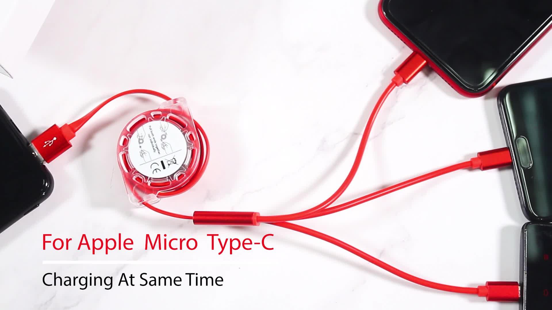 3 en 1 Câble USB Type C Câble type-c rétractable USB Câble De Données De Charge