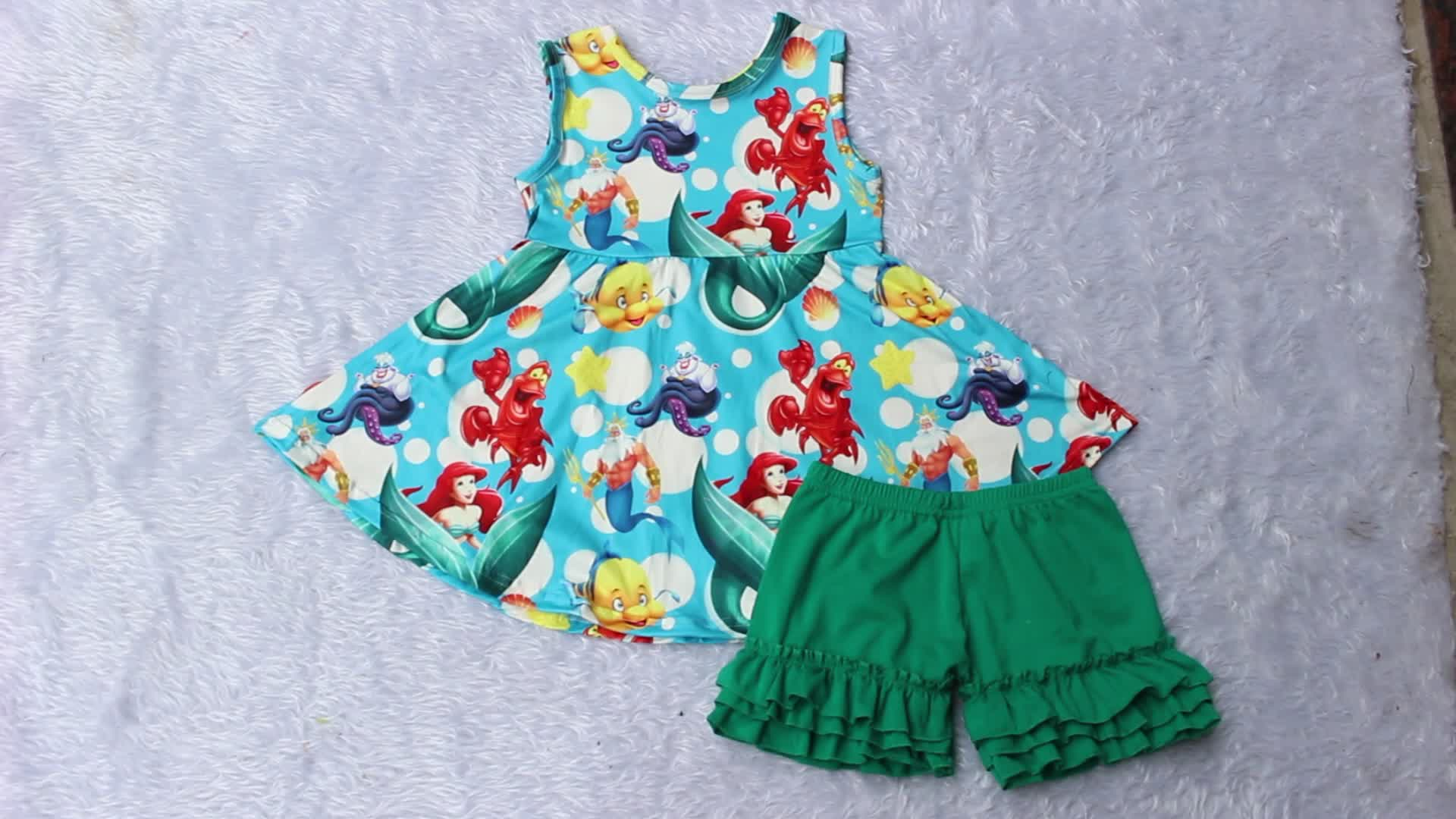 toddle girls summer printed tunic matching ruffle pants wholesale boutique children casual wear cotton ruffle clothes