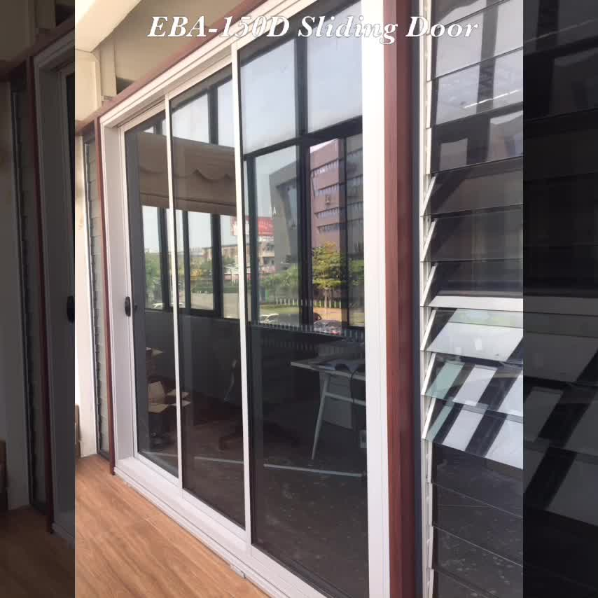 4 Panel Aluminum Double Glazing Door Sliding Glass Door With Blinds